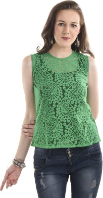 Ausehen Casual Sleeveless Solid Women's Green Top