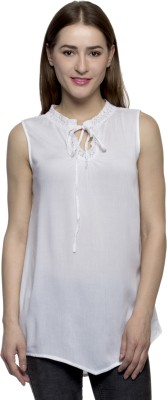 One Femme Party, Formal Sleeveless Solid Women's White Top