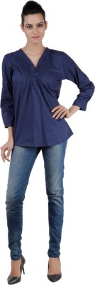 Pret a Porter Casual Full Sleeve Solid Women's Blue Top