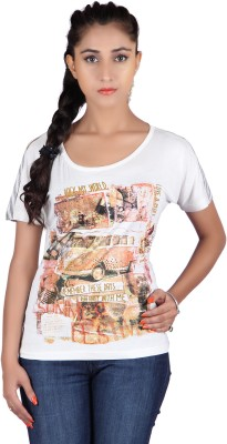 Raves Casual, Sports, Party Short Sleeve Printed Women's White, Grey Top