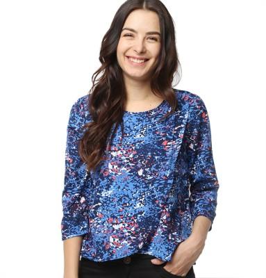 American Swan Casual Short Sleeve Printed Women's Blue Top