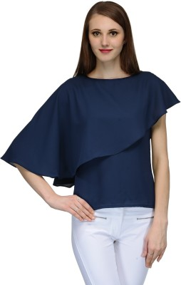 Natty India Casual Butterfly Sleeve Solid Women's Blue Top