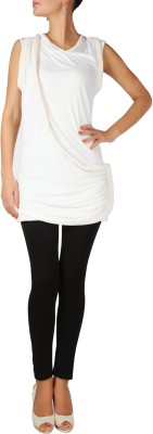 Karmik Casual Sleeveless Solid Women's White Top