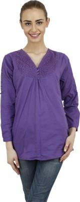 Hapuka Casual 3/4 Sleeve Solid Women's Purple Top