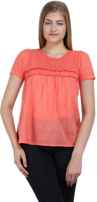 Bainy Casual Short Sleeve Solid Women,s Pink Top