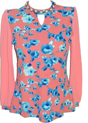 Forever 18 Casual 3/4 Sleeve Printed Women's Pink Top