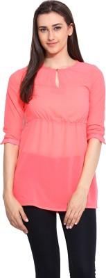 Mystree Casual 3/4 Sleeve Solid Women's Pink Top