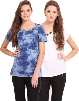 Femenino Casual Short Sleeve Printed Women's Beige, Blue Top