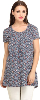 My Addiction Casual Short Sleeve Floral Print Women's Grey Top