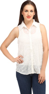 My Addiction Women's Embroidered Casual White Shirt
