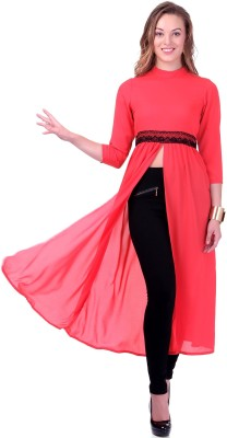 Sassafras Casual, Party Full Sleeve Solid Women's Orange Top