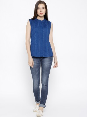 Citrine Casual Sleeveless Solid Women's Blue Top