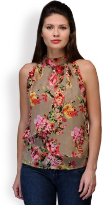 Purplicious Casual, Formal Sleeveless Floral Print Women's Multicolor Top