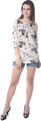 Florrie Fusion Casual 3/4 Sleeve Printed Women's White Top