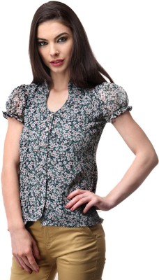Milimoto Casual Short Sleeve Floral Print Women's Blue, White Top
