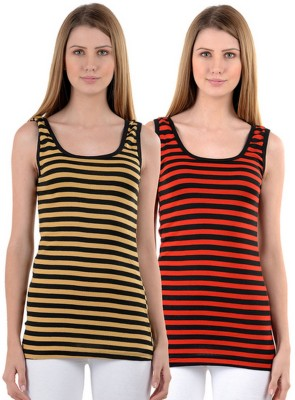 99DailyDeals Casual, Party, Festive, Lounge Wear, Beach Wear, Sports Sleeveless Striped Women's Red, Yellow Top