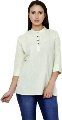 Dhrohar Formal 3/4 Sleeve Solid Women,s Light Green Top