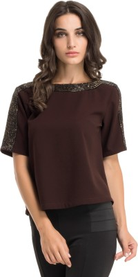 Kazo Casual Short Sleeve Embellished Women's Brown Top