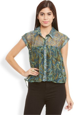 Anasazi Casual Cap sleeve Printed Women's Multicolor Top