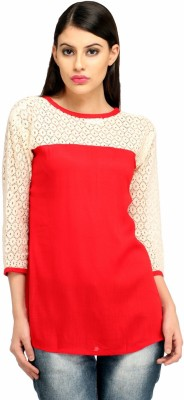 Snoby Casual 3/4 Sleeve Printed Women's Red Top