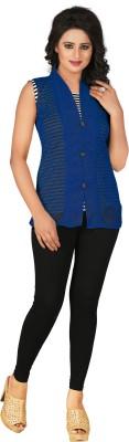 Khushali Party, Festive Sleeveless Self Design Women's Blue Top