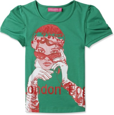 London Fog Casual Short Sleeve Graphic Print Girl's Green Top