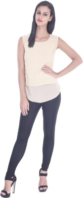 Zupe Casual Sleeveless Solid Women's Beige Top