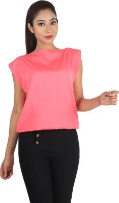 Jiyami Creations Party Sleeveless Self Design Women's Pink Top