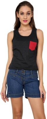 99Hunts Casual Sleeveless Solid Women's Black Top