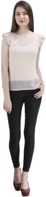 Uptowngaleria Formal Short Sleeve Solid Women's Beige Top