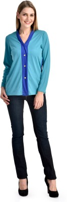 Shopping Queen Casual Full Sleeve Solid Women's Light Blue Top