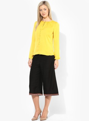 Only Casual Full Sleeve Solid Women's Yellow Top