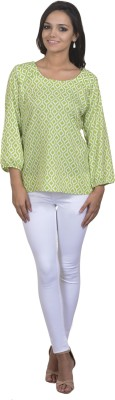 Antilia Femme Casual Full Sleeve Printed Women's Green Top