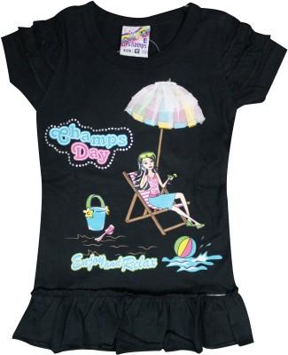 Mankoose Casual Short Sleeve Printed Girl's Black Top