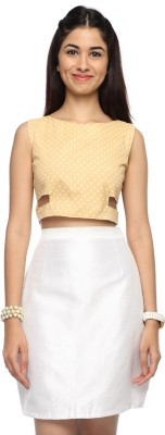 Francisca & Dominique Casual Sleeveless Polka Print Women's Beige Top