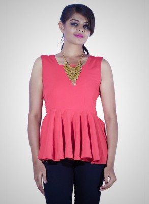 Youstyleme Casual Sleeveless Solid Women's Red Top