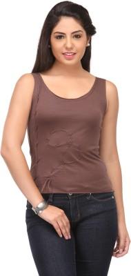 Cappadocia Casual Sleeveless Solid Women's Brown Top