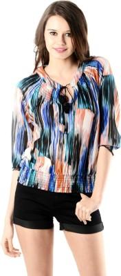 Oranje Casual 3/4 Sleeve Printed Women's Multicolor Top