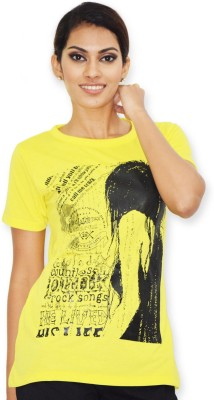 Riot Jeans Casual Short Sleeve Printed Women's Yellow Top