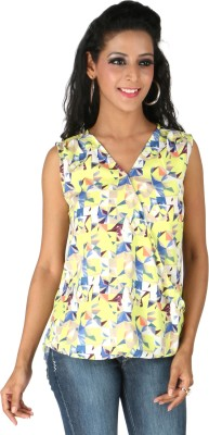 Life by Shoppers Stop Casual Sleeveless Solid Women's Yellow Top
