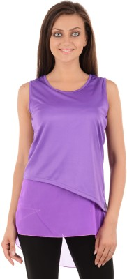 Sanchey Casual Sleeveless Solid Women's Purple Top at flipkart