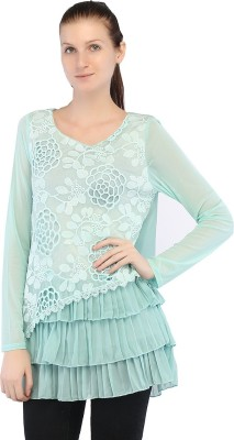 Ffashionstylus Party Full Sleeve Embroidered Women's Light Green Top