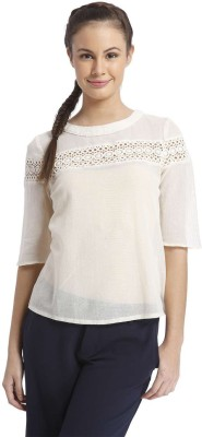 Only Casual 3/4 Sleeve Solid Women's White Top