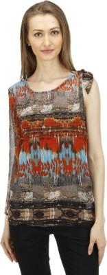 1OAK Casual Sleeveless Printed Women's Brown Top