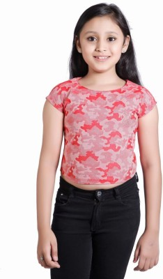 Just Clothes Party Sleeveless Printed Girl's Red Top