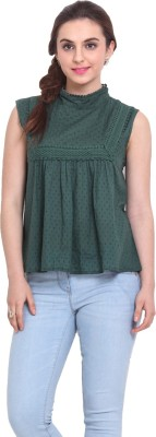 Rena Love Casual Sleeveless Printed Women's Green Top