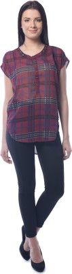 Chloe Casual Short Sleeve Checkered Women,s Maroon Top