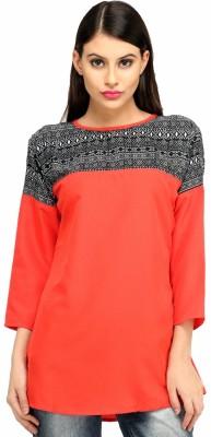 Snoby Casual 3/4 Sleeve Printed Women's Orange Top