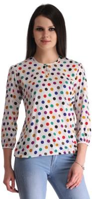 ZAIRE Casual 3/4 Sleeve Polka Print Women's Multicolor Top