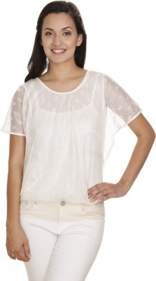 Meiro Formal Short Sleeve Solid Women's Beige Top at flipkart